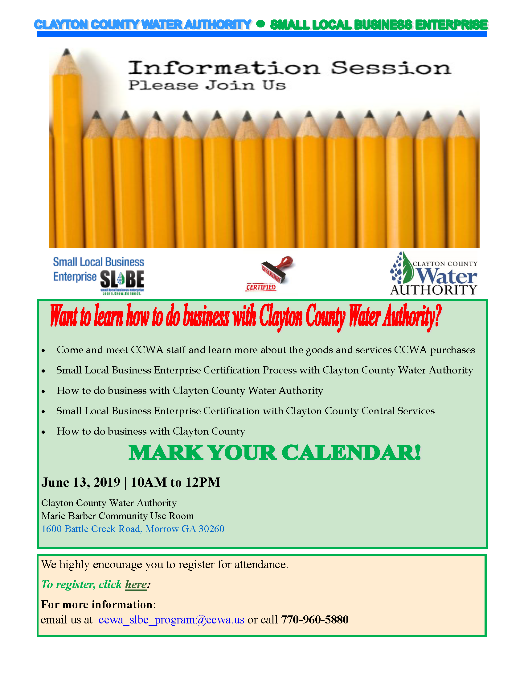 CCWA's SLBE Information Session Thursday, June 13, 2019