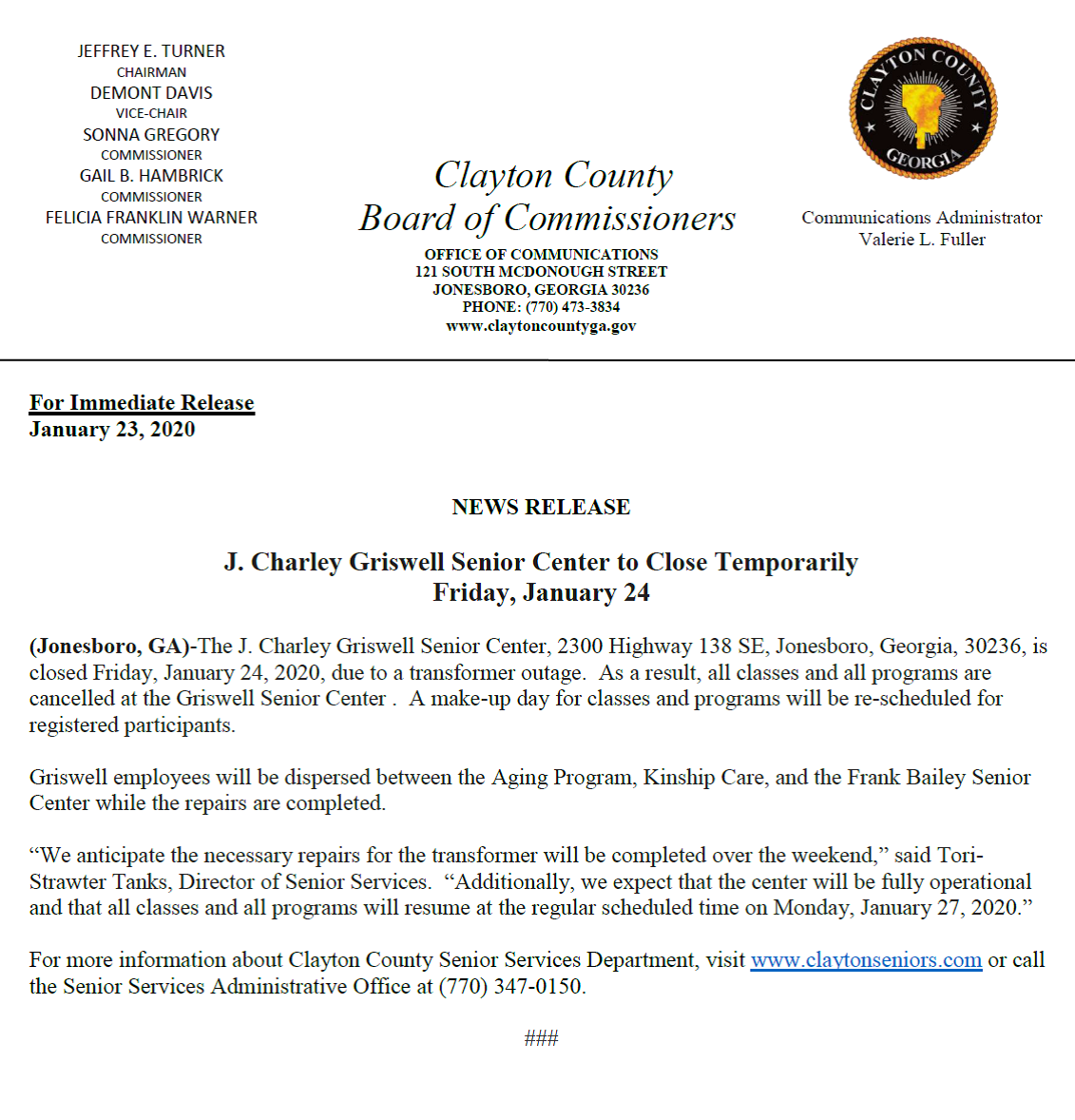 News Release Griswell Senior Center to Close Temporarily for Friday, January 24, 2020