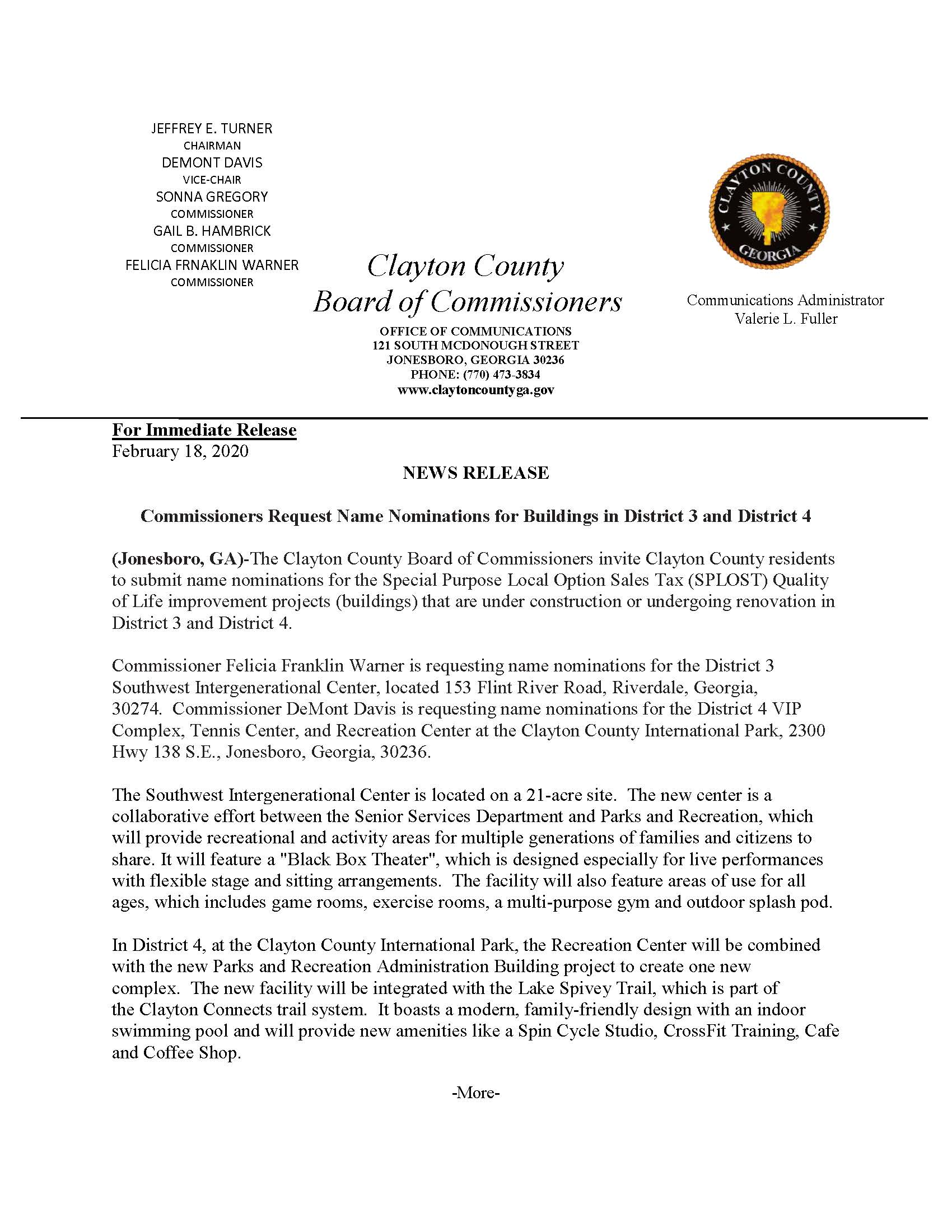 Commissioners Request Name Nominations for Buildings in District 3 and District 4