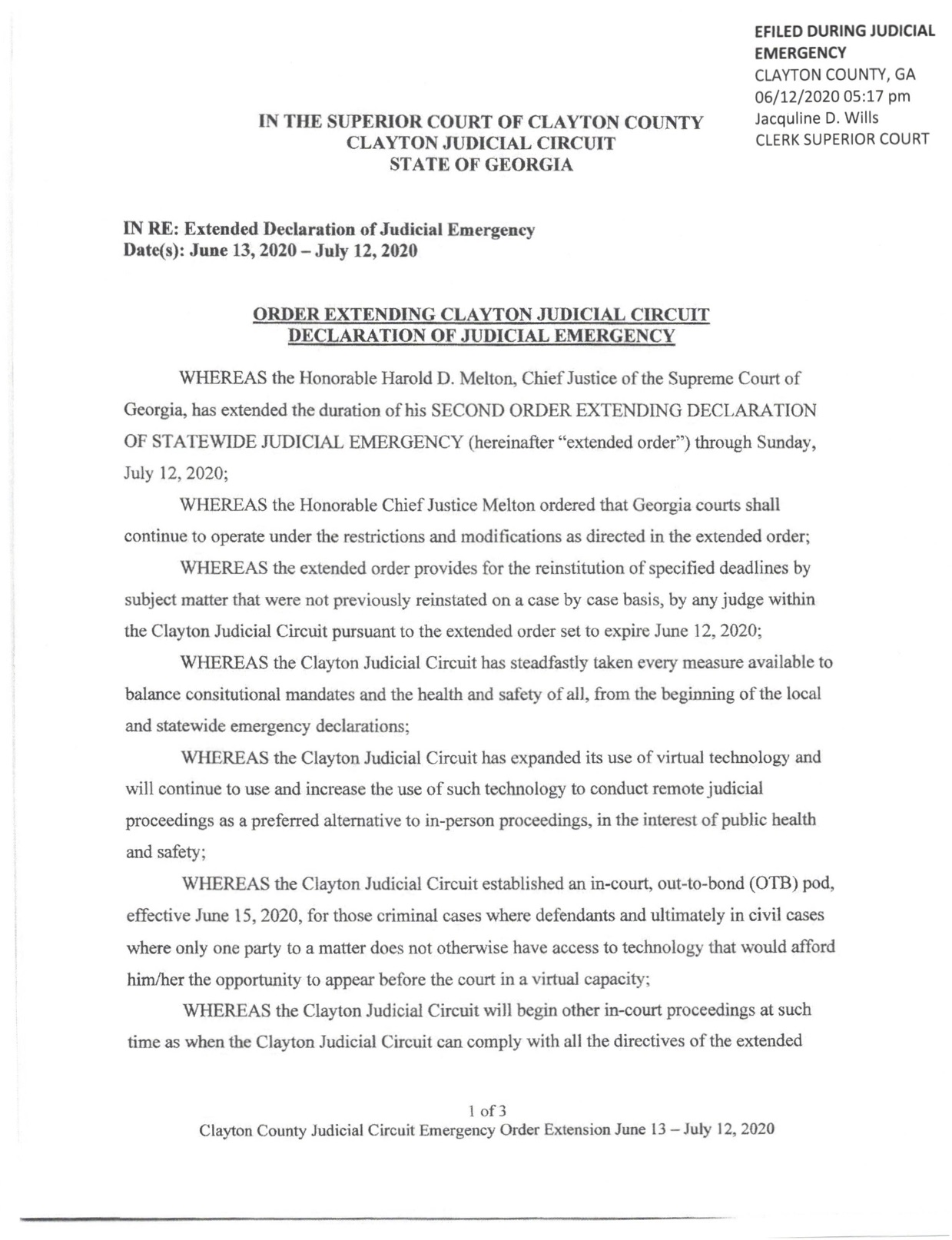 Order Extending Clayton County Judicial Circuit Declaration of Judicial Emergency